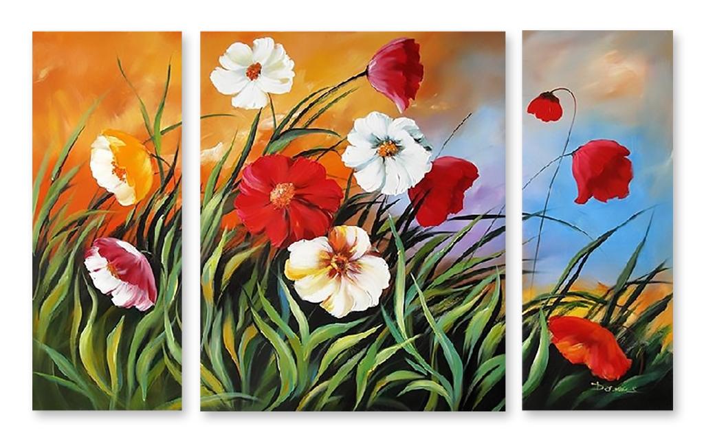 Влюбленные море, картинки триптих цветы