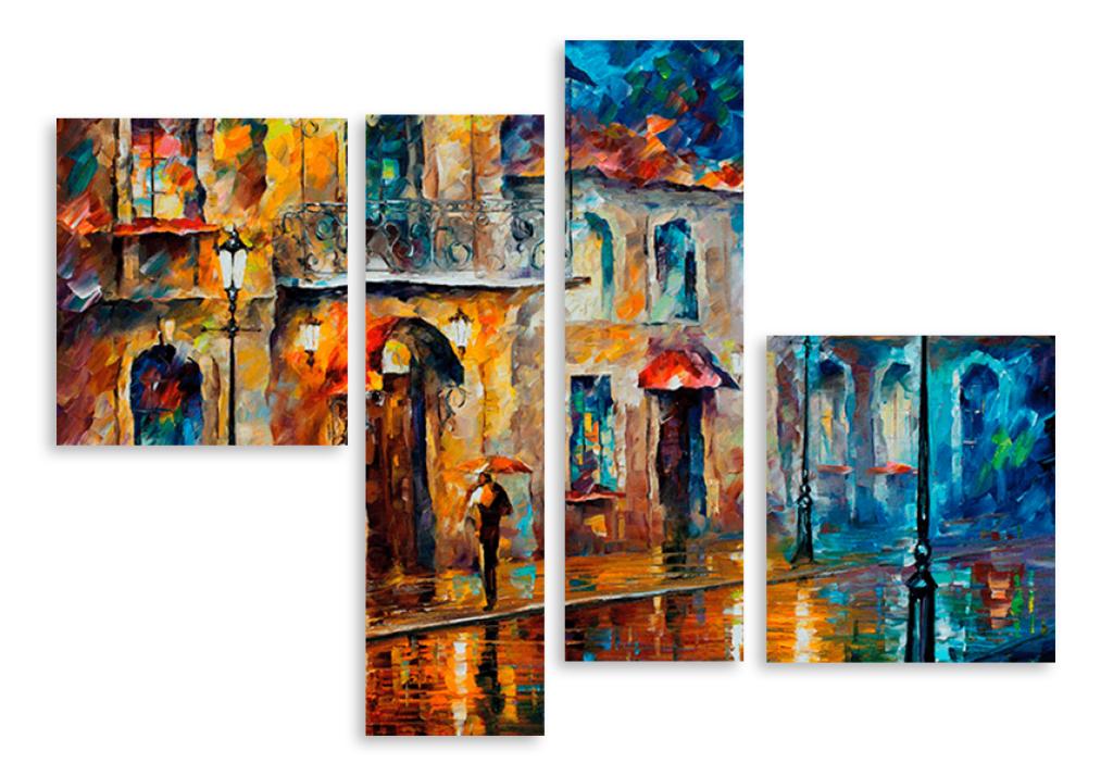 """Модульная картина 3760 """"Дождливый город"""" – фото в ...  Дождливый Город Картина"""